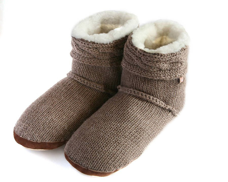 Cable Knit Slipper Boots Cozy Couture