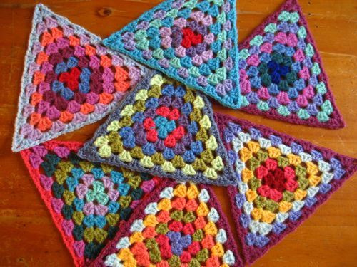 Check out these lovely crocheted granny triangles String