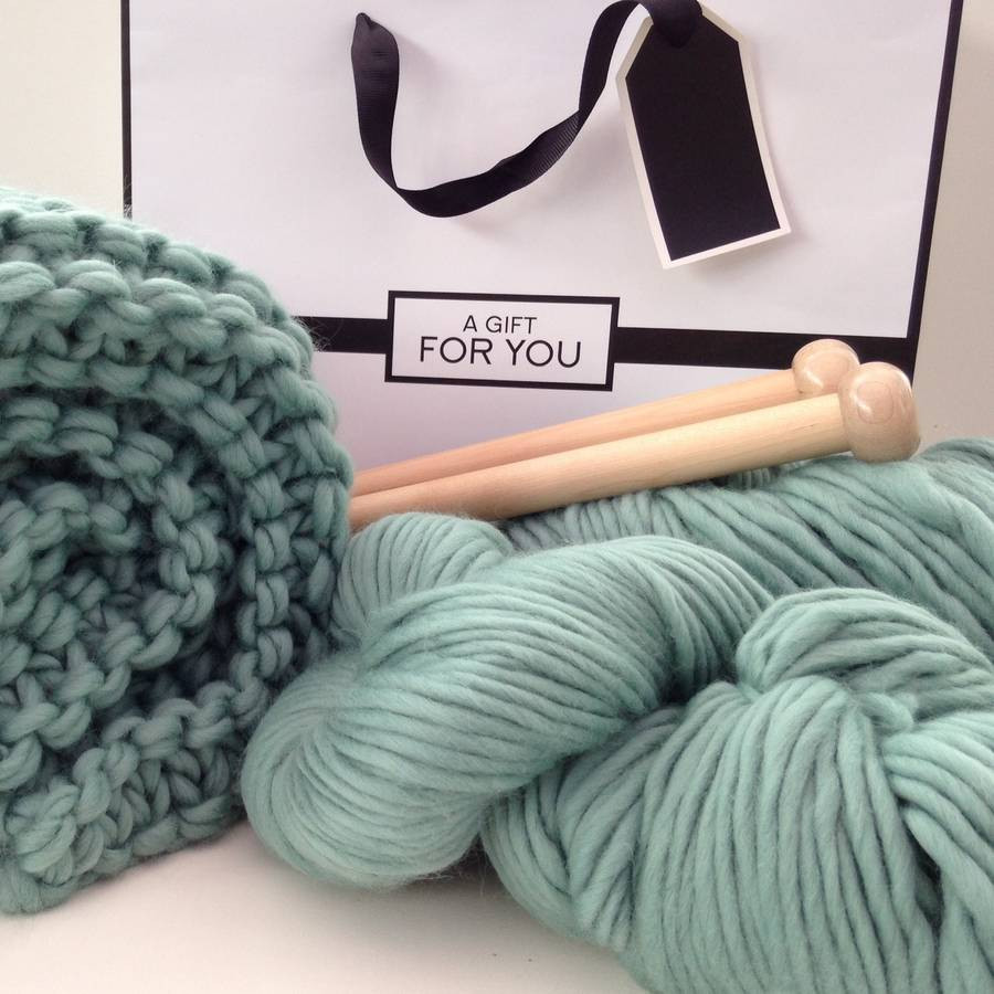chunky blanket knitting kit by wool couture