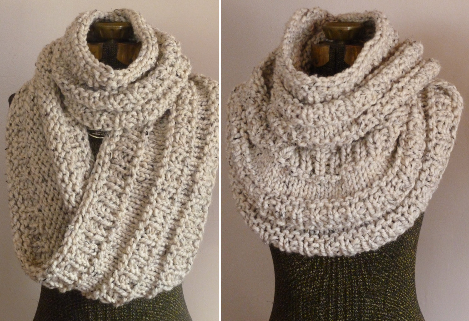 Unique Chunky Hand Knit Cowl In Oatmeal Knit Huge by Bopeepsbonnets Chunky Knit Scarf Pattern Of Adorable 50 Ideas Chunky Knit Scarf Pattern