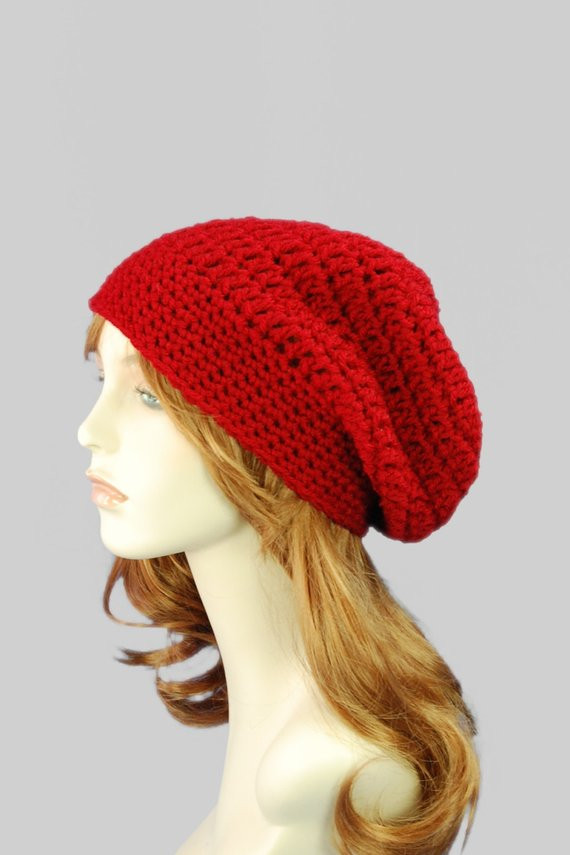 Unique Chunky Red Slouchy Hipster Beanie Hat Crochet by Red Slouchy Beanie Of New 50 Models Red Slouchy Beanie