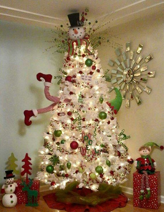 Unique Clever White Christmas Tree Decorating Ideas Crafty Morning Snowman Christmas Tree Decorations Of Adorable 46 Pictures Snowman Christmas Tree Decorations