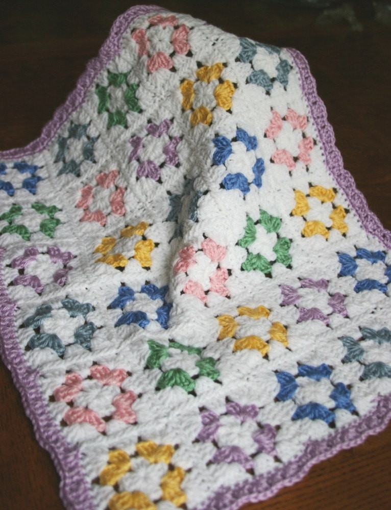 Crochet baby doll blanket Granny Square by dollcrochetboutique