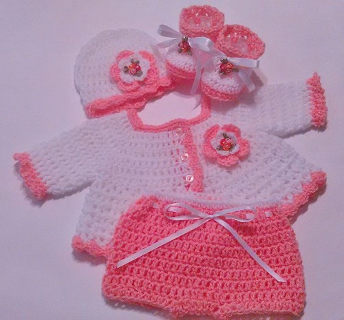 Unique Crochet Baby Girl White Peach Sweater Set Hat Booties Crochet Baby Sweater Sets Of Charming 43 Photos Crochet Baby Sweater Sets