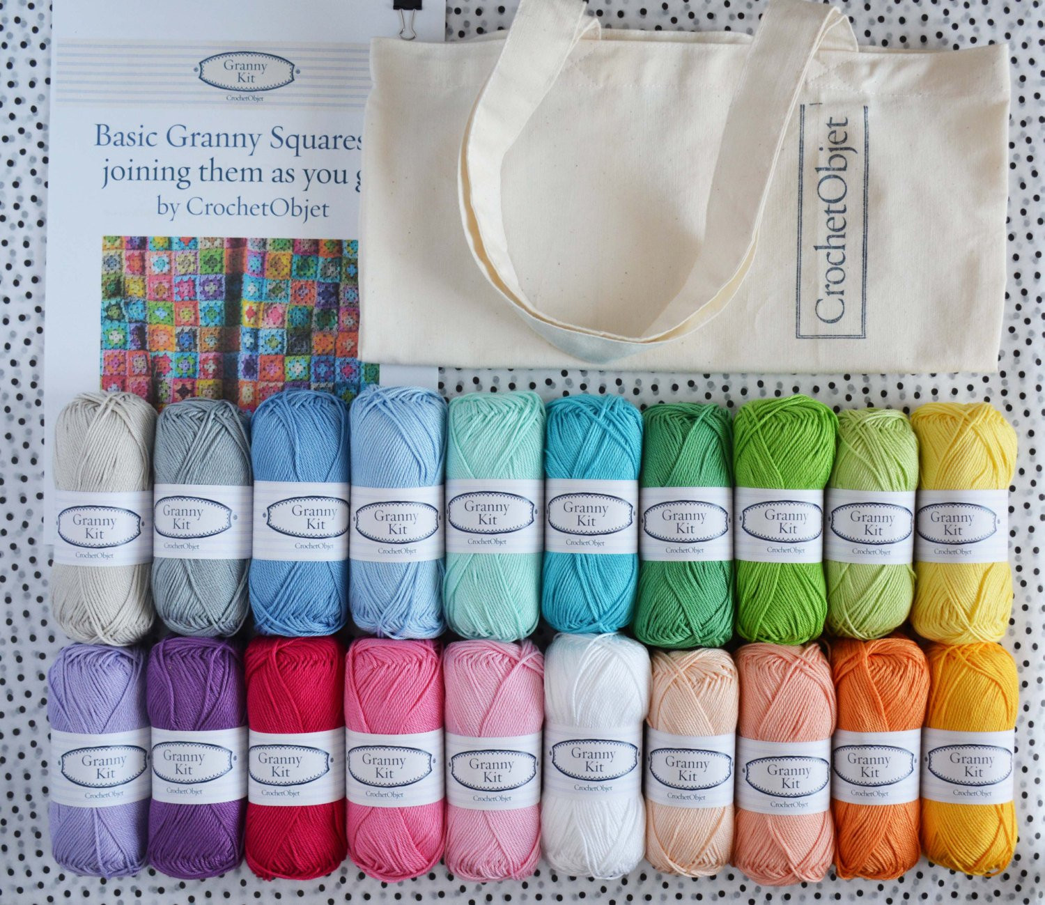 Crochet Beginners Kit Granny square DIY pattern with 20