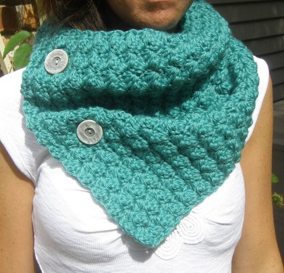 Crochet Cowl Neckwarmer Scarf in TEAL with Buttons Bamboo