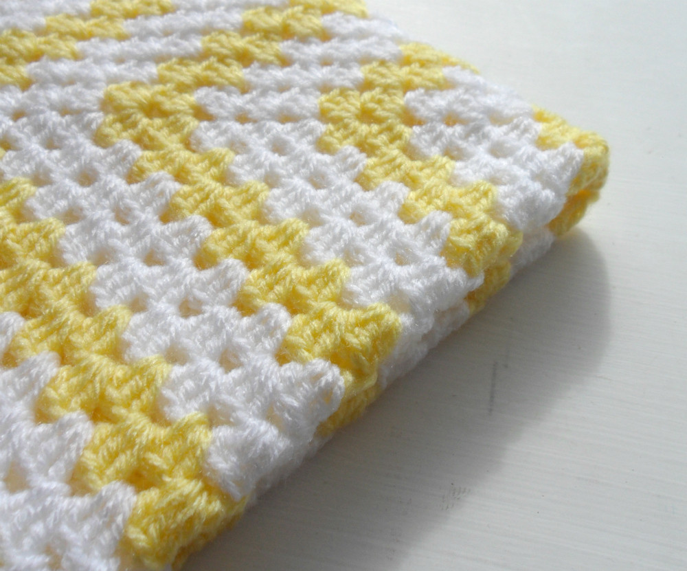 Crochet Granny Square Baby Blanket Yellow White on Luulla