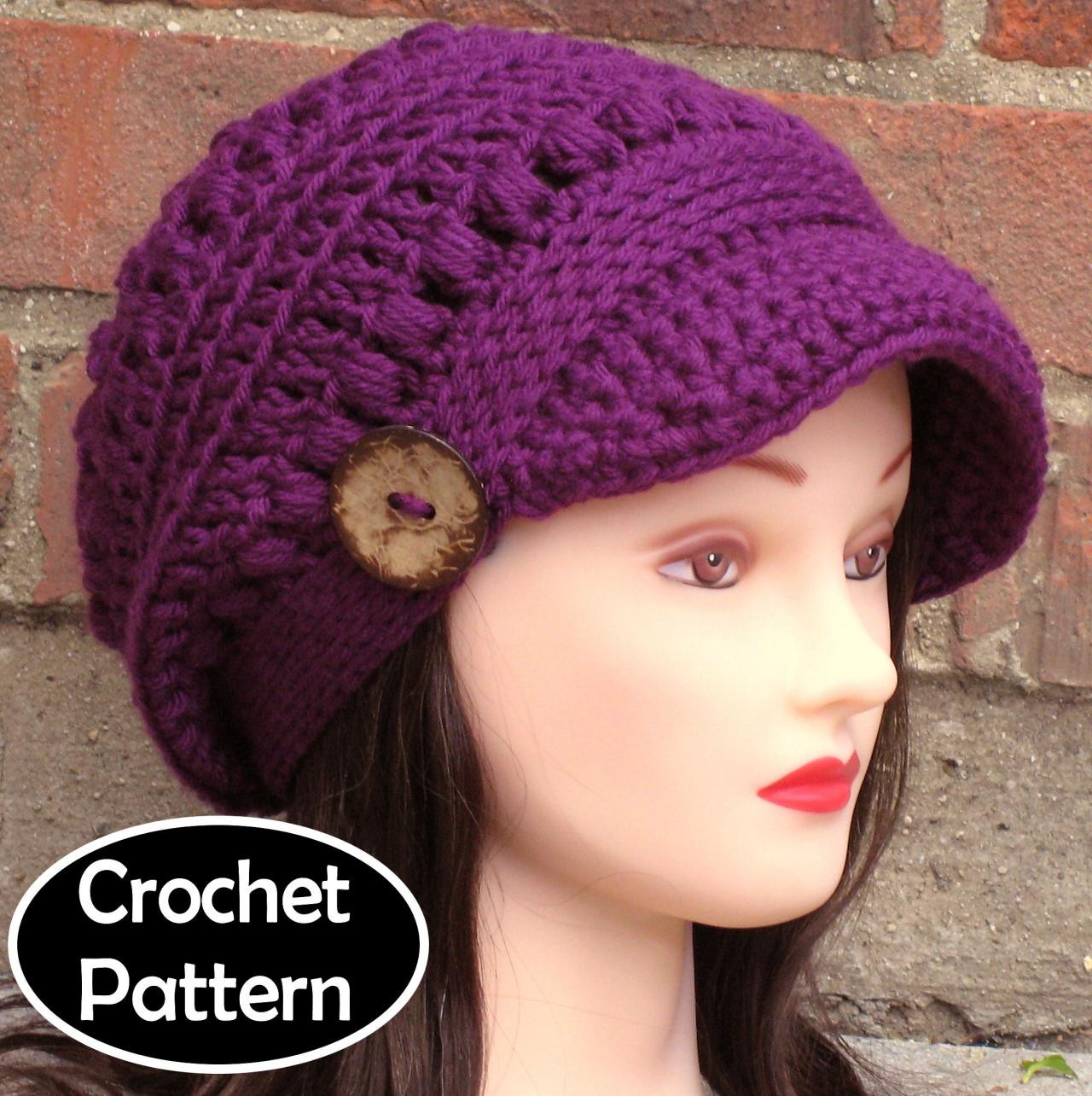 CROCHET HAT PATTERN Brooklyn Newsboy Hat Slouchy Beanie