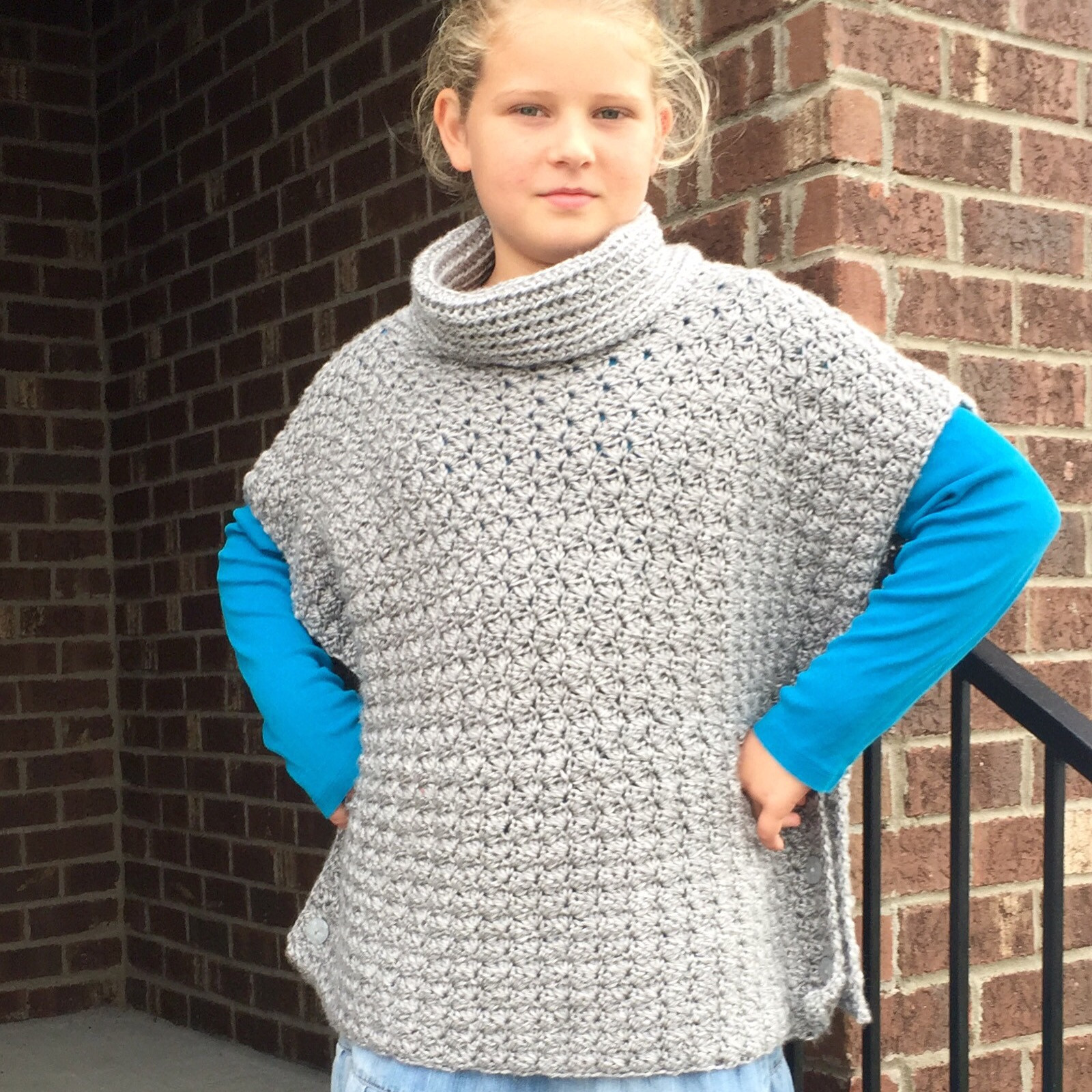 Crochet Pattern Fiona Poncho with Cowl for American