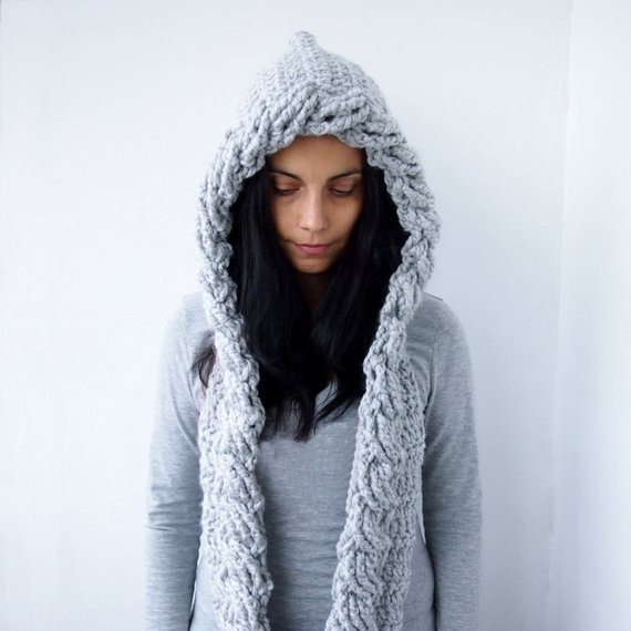 Unique Crochet Pattern Hooded Scarf Cable Pixie Hood Bulky Woman Free Hooded Scarf Crochet Pattern Of Awesome 40 Models Free Hooded Scarf Crochet Pattern