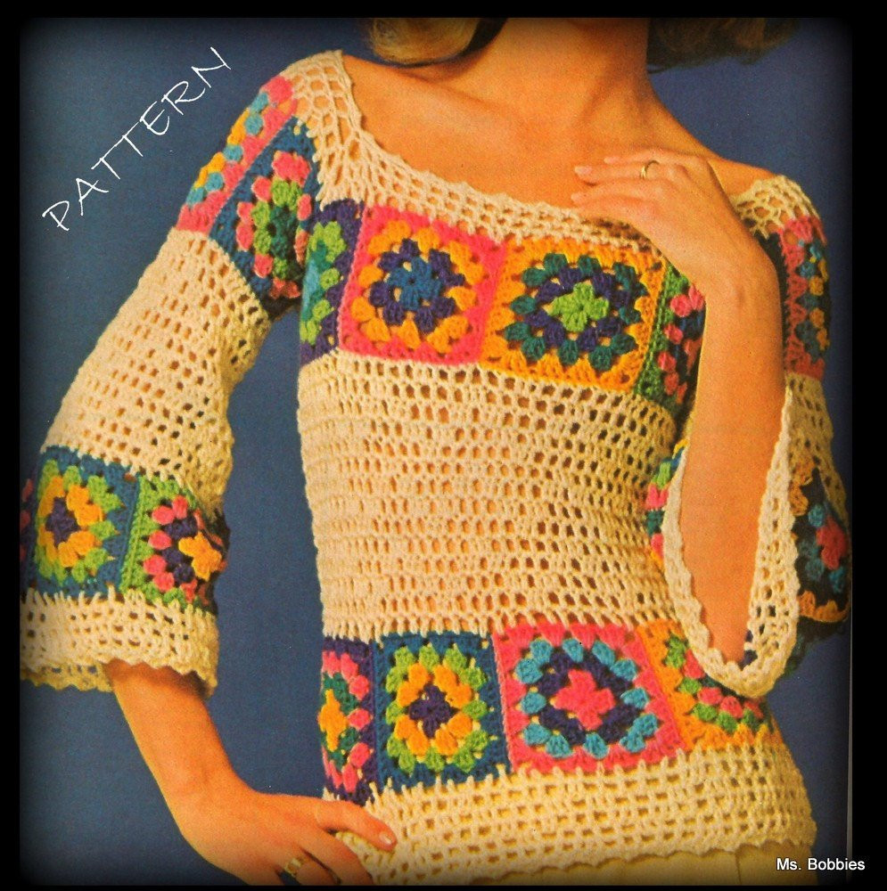 Crochet Sweater Granny Squares PDF Save by MsBobbies