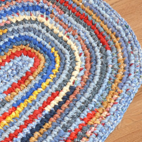 Unique Crocheted Oval Rag Rug Blues Reds and Golden by Crochet Rug with Fabric Strips Of Adorable 46 Images Crochet Rug with Fabric Strips