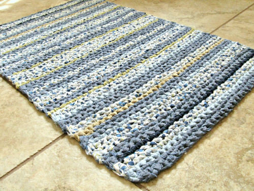 Unique Crocheted Rectangle Rag Rug Bath Mat Textured Striped Crochet Bath Rugs Of Contemporary 44 Pictures Crochet Bath Rugs