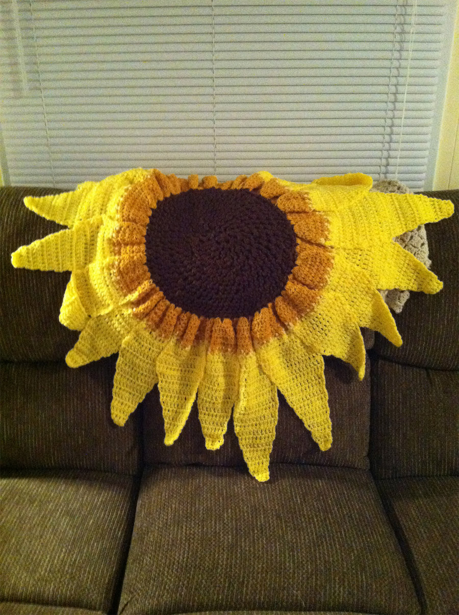 Unique Custom Flower Crochet Blankets Sunflower by Sunflower Crochet Blanket Of Contemporary 48 Ideas Sunflower Crochet Blanket