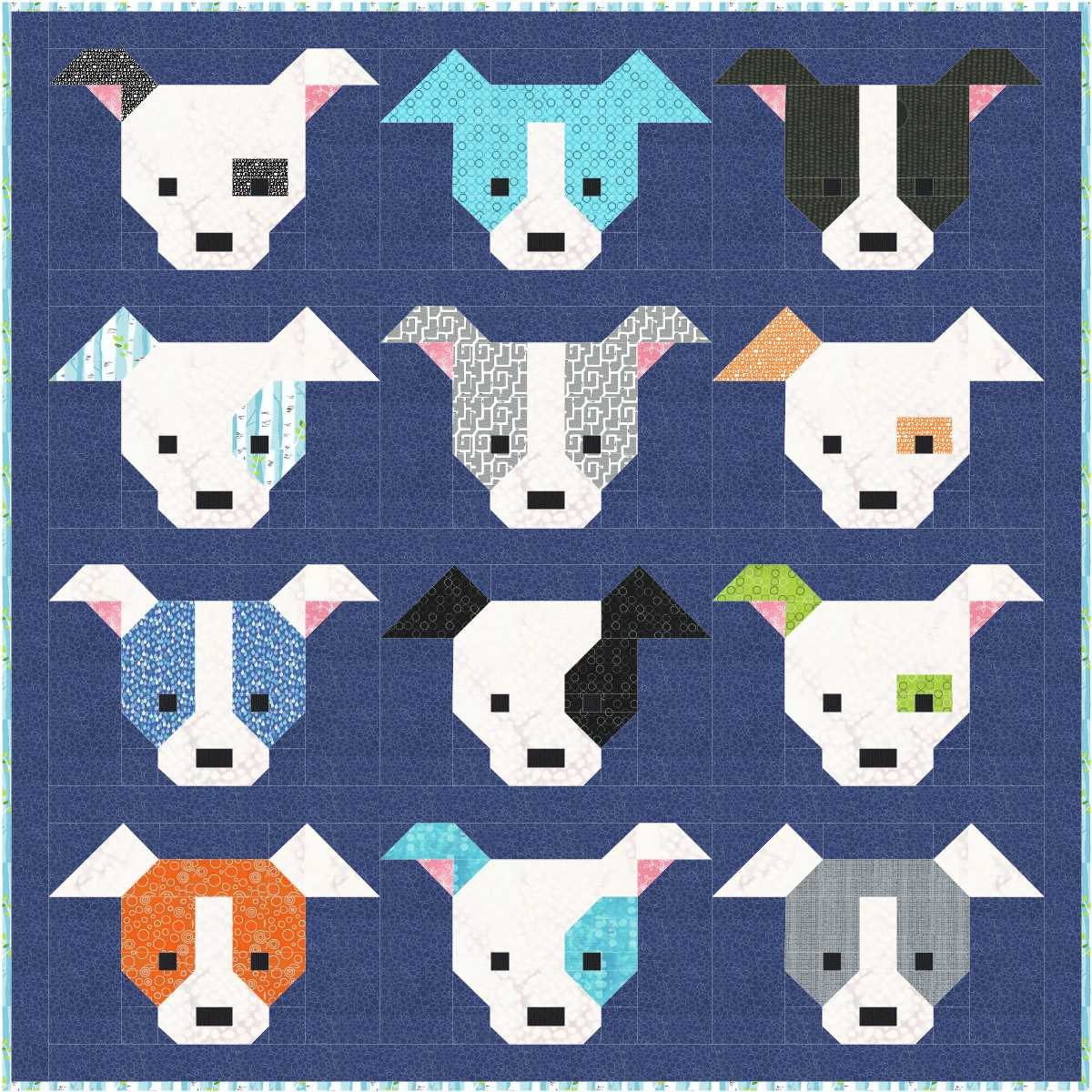 Unique Dog Gone Cute Quilt Pattern Pdf Instant Download Modern Dog Pattern Of Attractive 45 Photos Dog Pattern