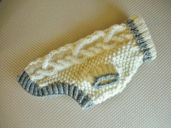 Dog Sweater Diamond Cable Knit Ivory Small Yorkie