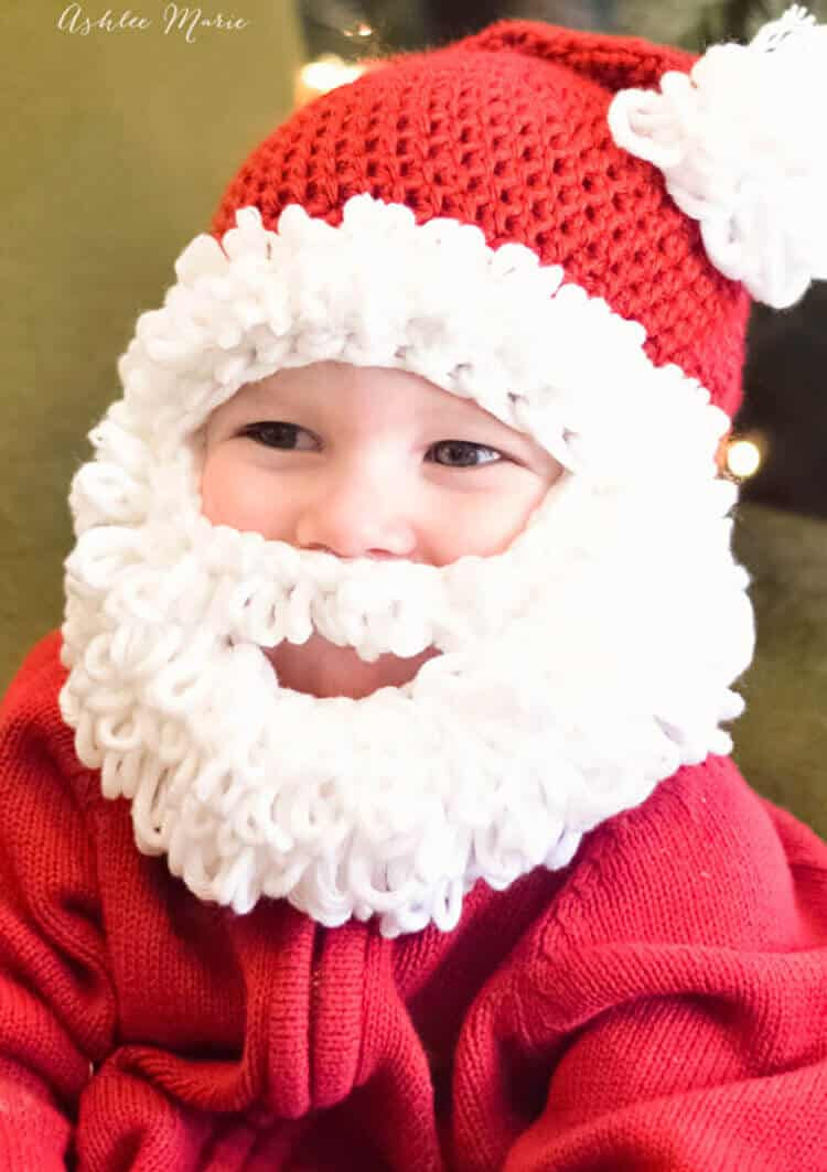 Double loop crochet Santa beanie pattern infant to adult