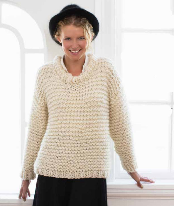 Easy and Quick Chunky Knit Sweater Free Knitting Pattern