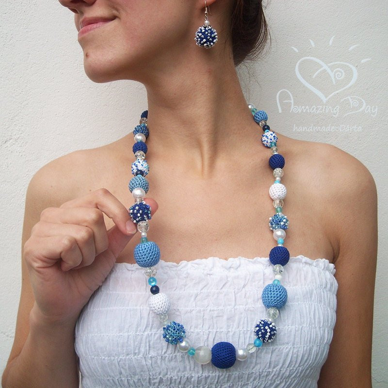 Exclusive LONG NECKLACE Crochet Blue White Beaded Necklace