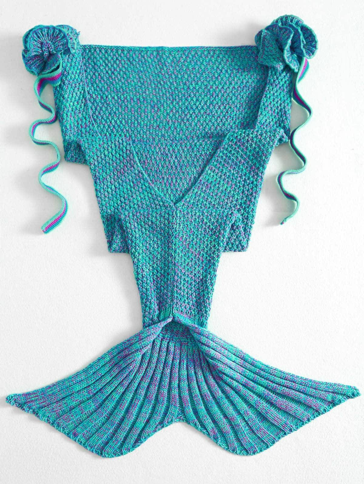 Unique Fashion Knitted Flowers Embellished Mermaid Tail Shape Knitted Mermaid Blanket Of Great 41 Images Knitted Mermaid Blanket