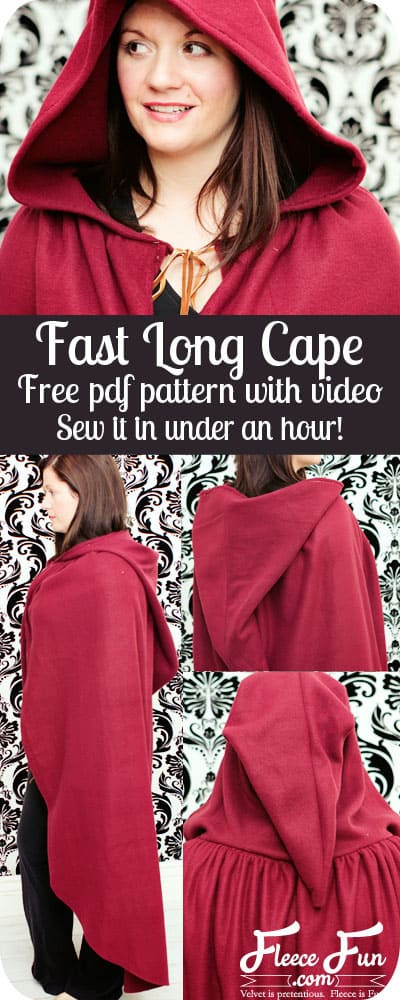 Fast hooded cape free pattern and tutorial ♥ Fleece Fun