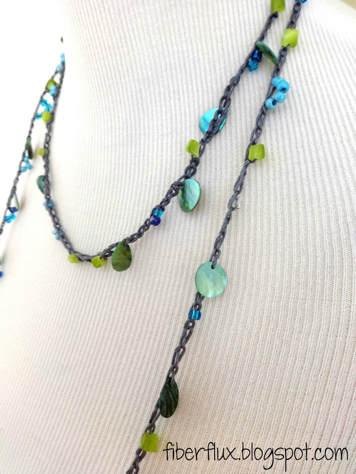 Fiber Flux Beach Glass Crochet Necklace