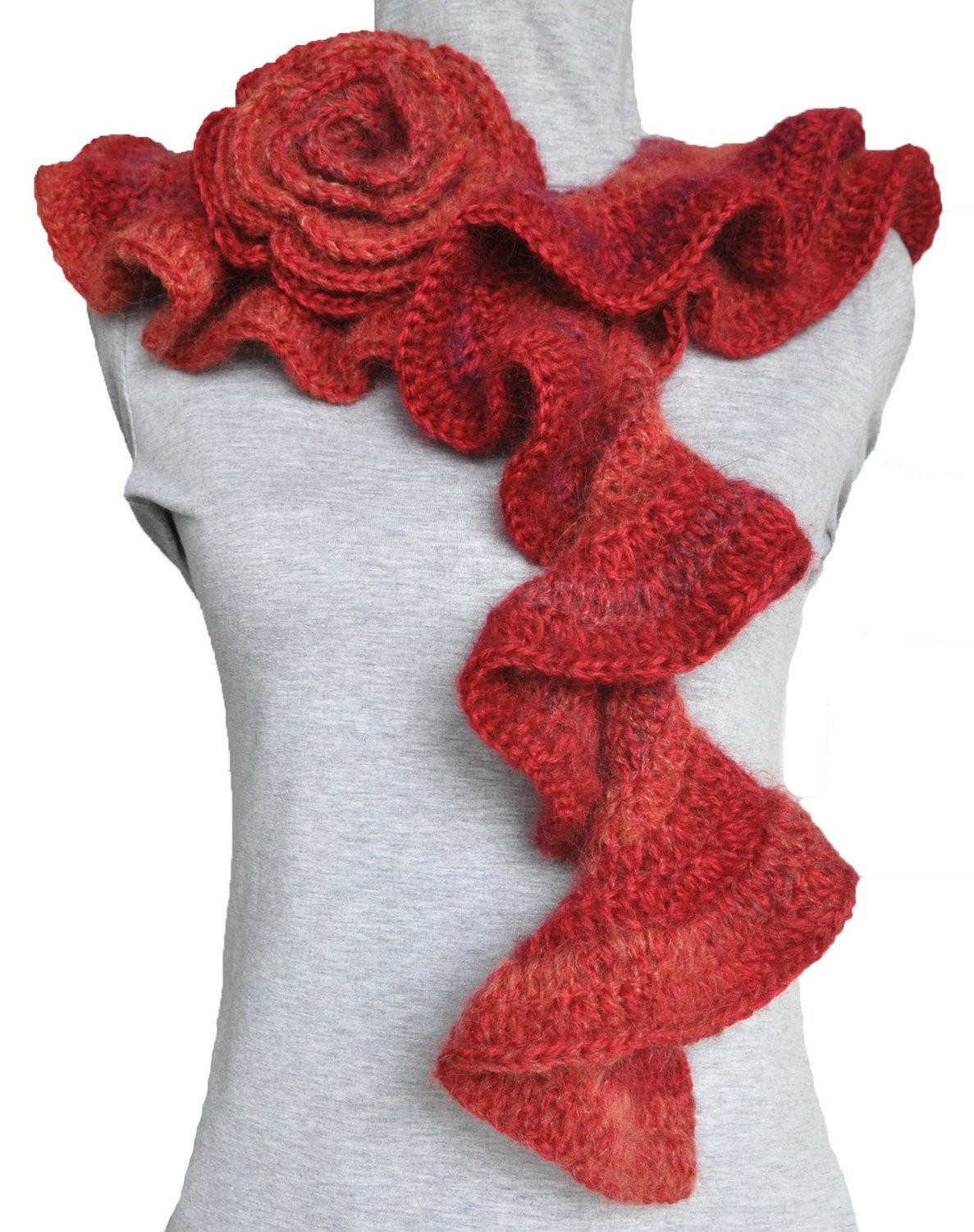 Unique Fire Red Crochet Ruffle and Rose Spiral Scarf Crochet Ruffle Scarf Of Lovely 41 Models Crochet Ruffle Scarf