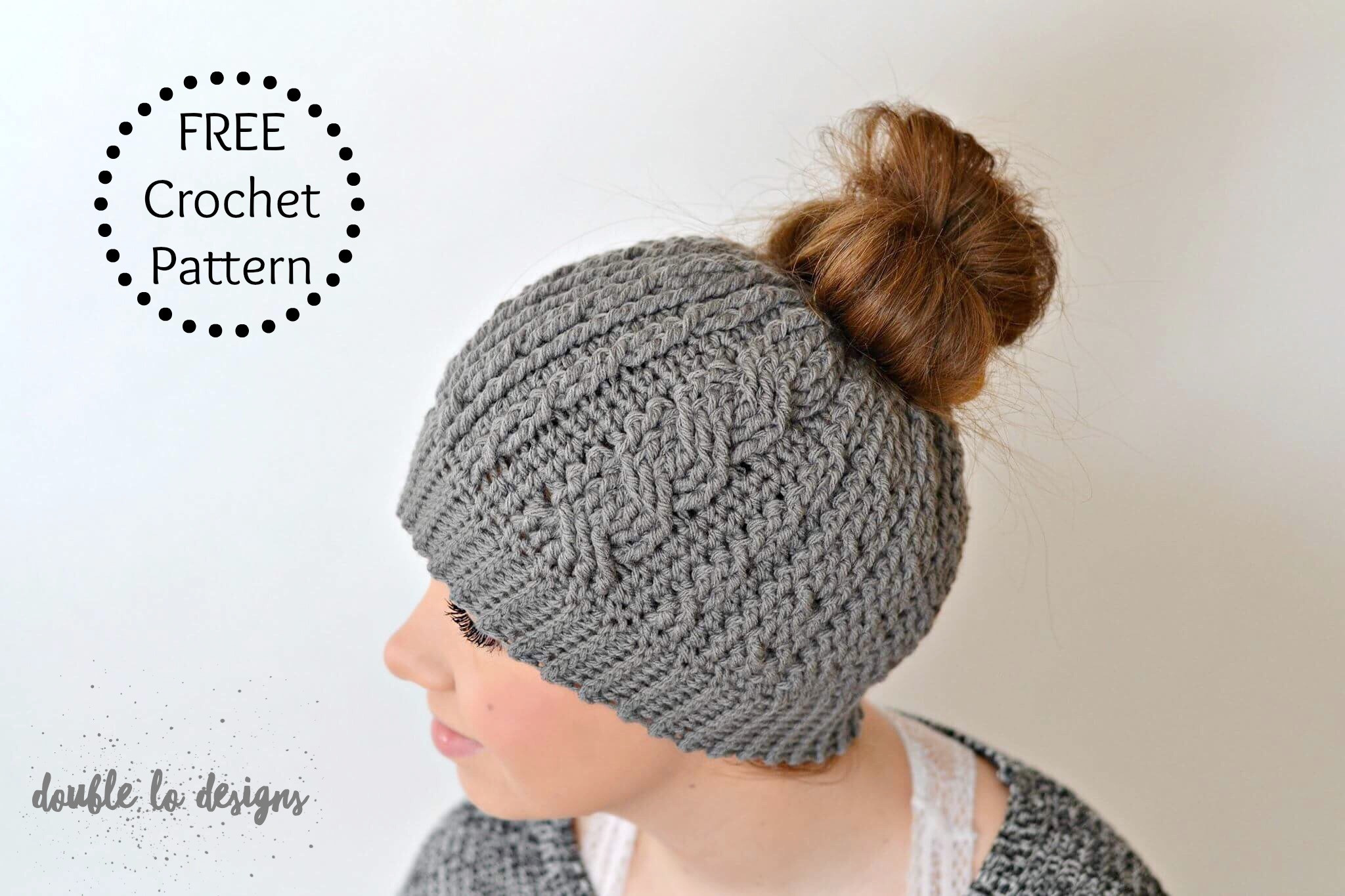 Free Crochet Pattern Crochet Cabled Messy Bun Hat Adult