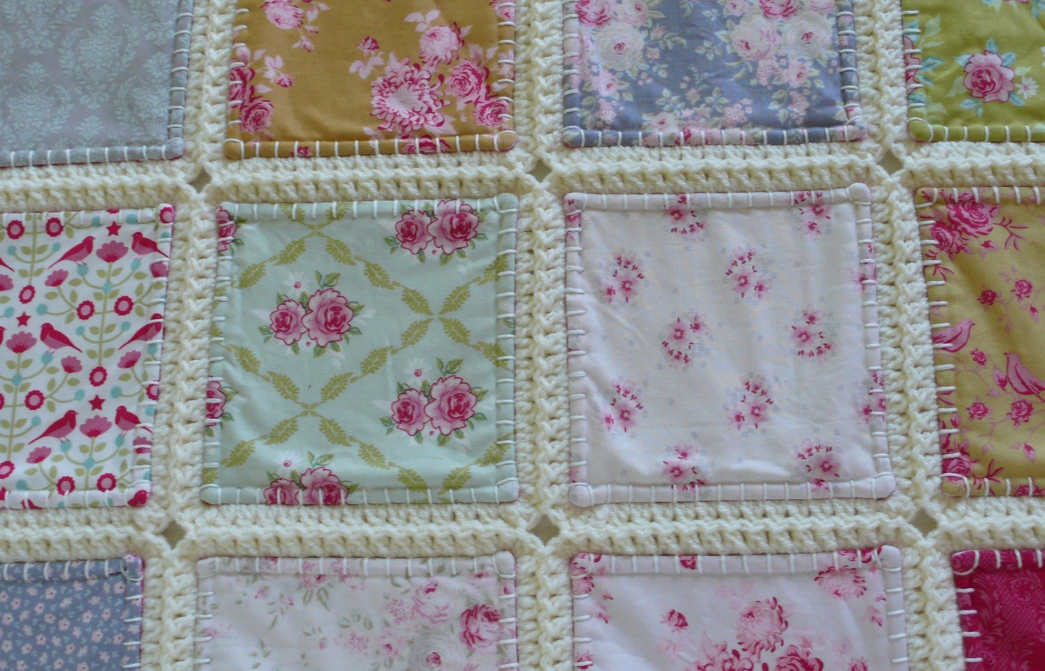 Unique Fusion Quilt Patchwork with Crochet Border Tilda Fabric Crochet and Fabric Quilt Of Top 45 Models Crochet and Fabric Quilt