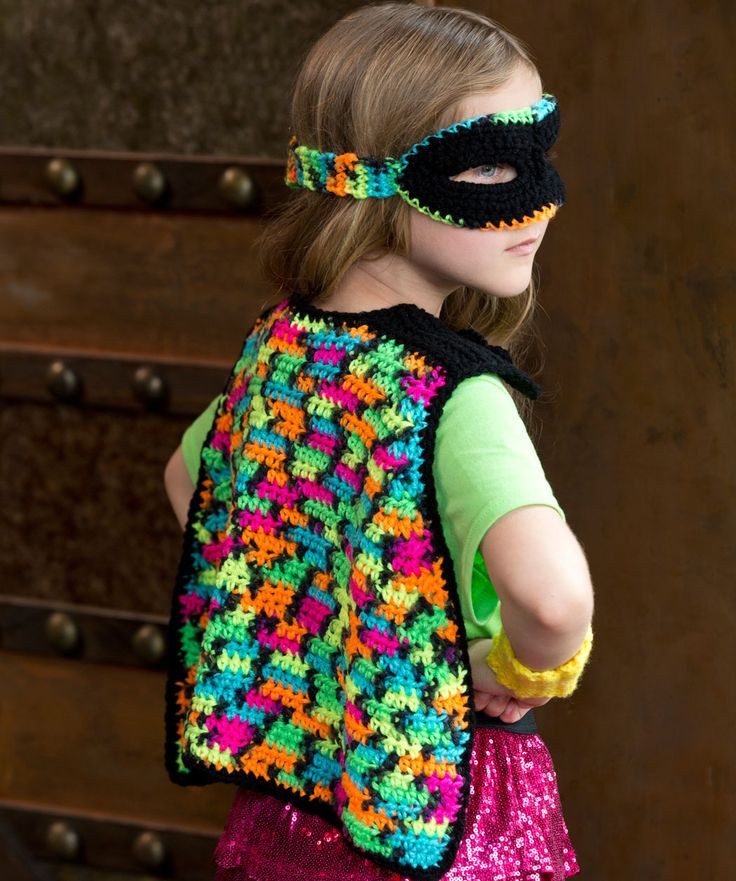 Girly Masked Hero Set Free Crochet Pattern from Red Heart