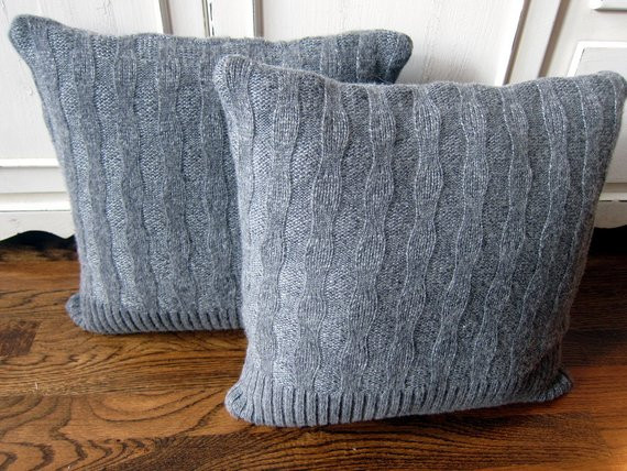 Unique Gray Cable Knit Sweater Pillow Covers Pair by Sewingbyjenn Cable Knit Pillow Cover Of Top 41 Pictures Cable Knit Pillow Cover