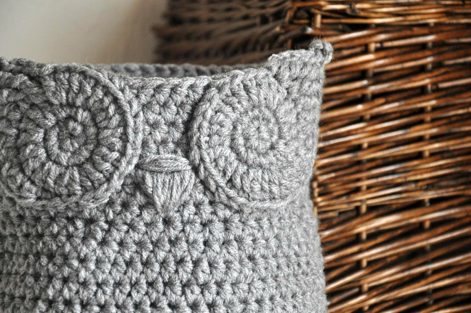 Unique Grey Owl Basket Crocheted Bin Yarn Holder Woodland Nursery Crochet Owl Basket Of Brilliant 47 Photos Crochet Owl Basket