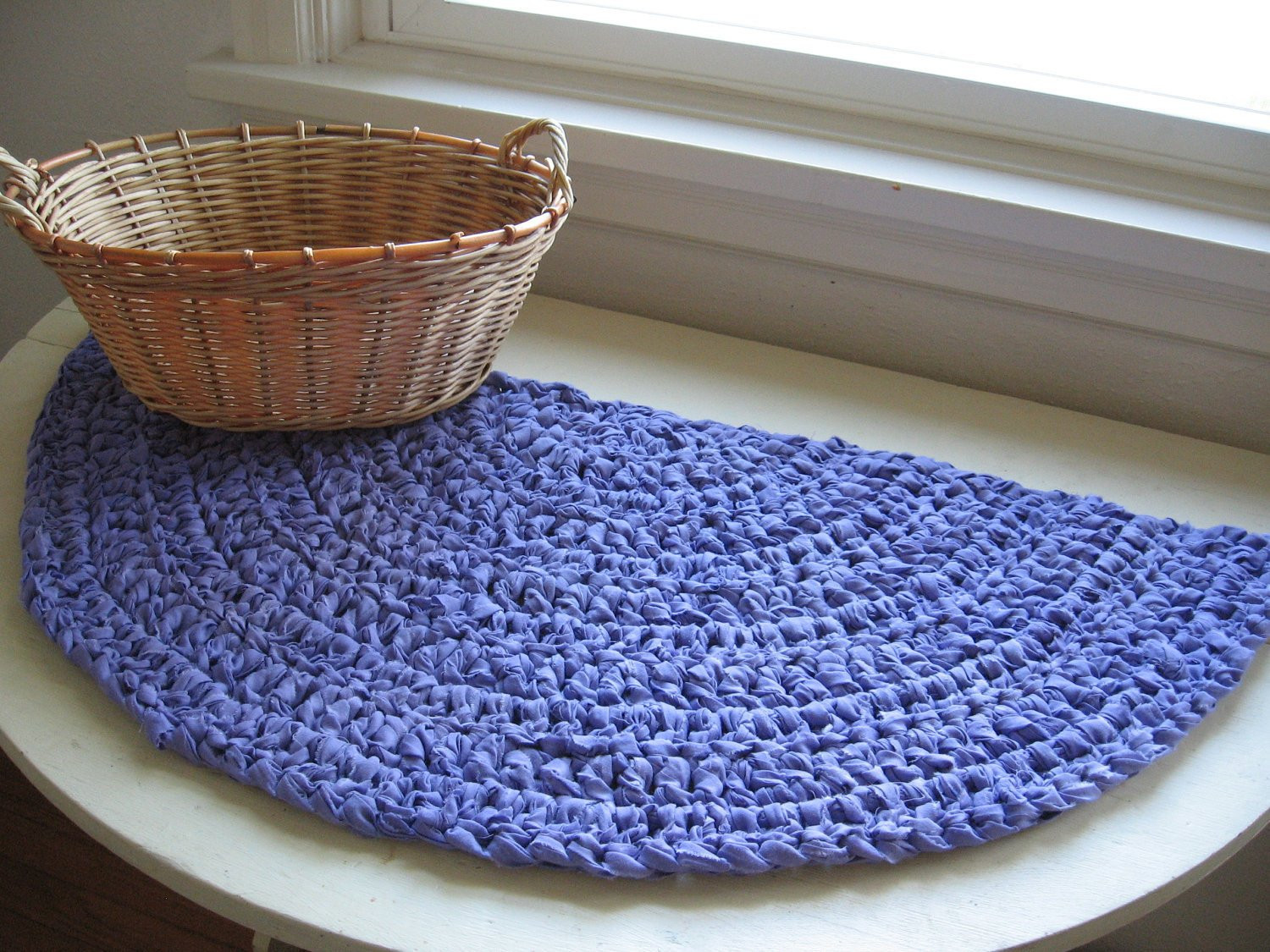 Unique Half Moon Crocheted Rag Rug or Table Mat Upcycled Lavender Crochet Rug with Fabric Strips Of Lovely Goat Feathers Crochet Rug and Purse Crochet Rug with Fabric Strips