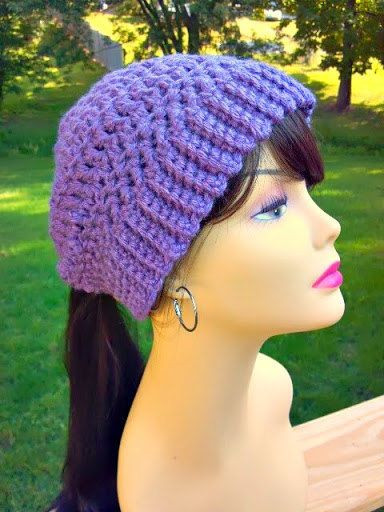 Unique Hand Crocheted Womens Ponytail Hat In Dusty Purple with Crochet Hat with Ponytail Hole Of Attractive 47 Pics Crochet Hat with Ponytail Hole