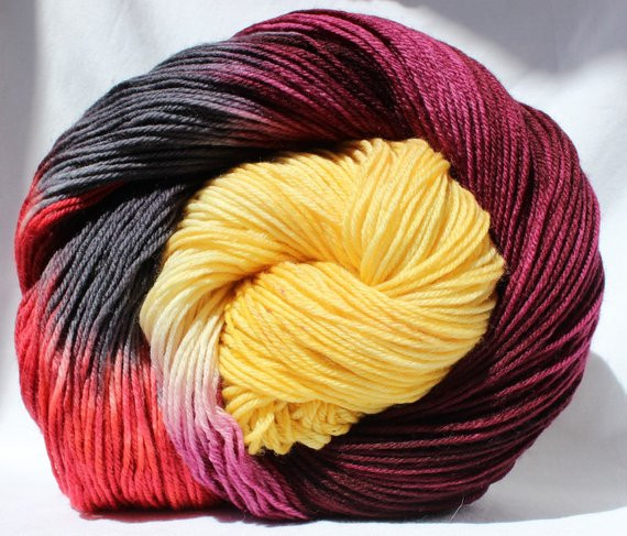 Unique Hand Dyed Yarn Burgundy Yellow Black Red by Yellow Variegated Yarn Of Charming 49 Ideas Yellow Variegated Yarn