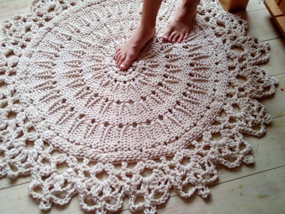 Unique Hand Knitted Rope Giant Doily Rug with Crochet Edge by Hand Crochet Rug Of Contemporary 41 Models Hand Crochet Rug