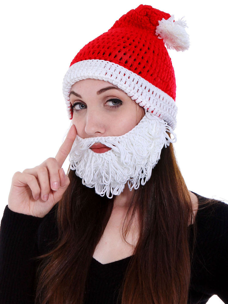 Handcrafted Winter Adult Santa Claus Bearded Beanie Hat