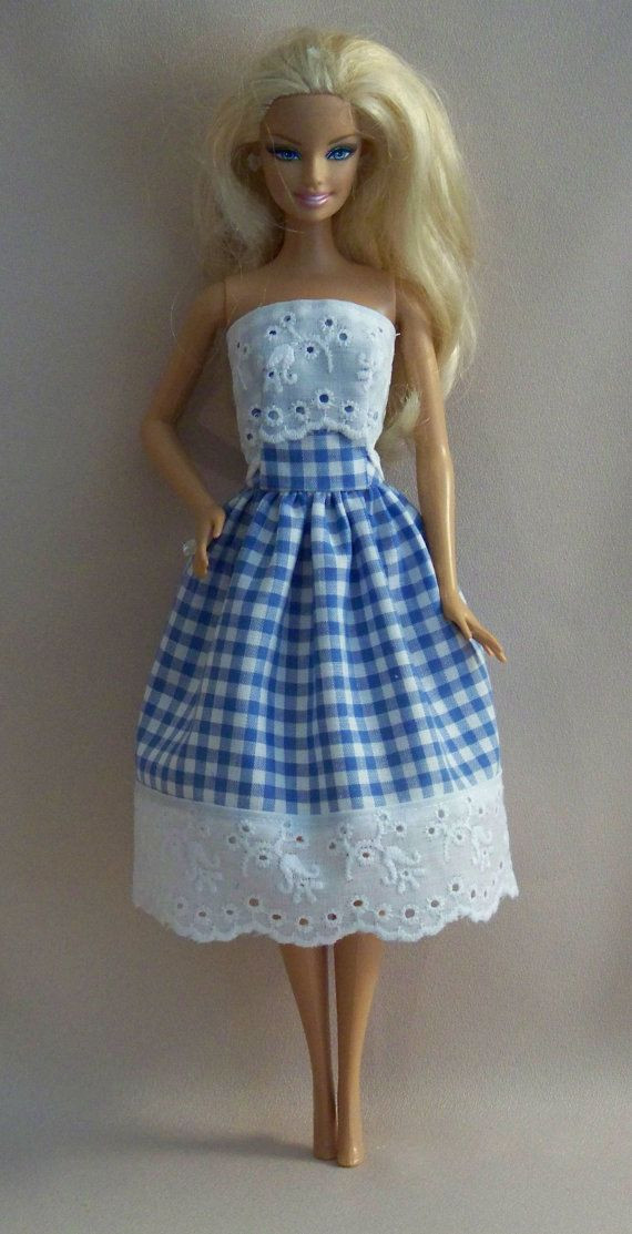 Unique Handmade Barbie Doll Clothes Blue Gingham with Eyelet Barbie Doll Clothes Patterns Of Contemporary 50 Pictures Barbie Doll Clothes Patterns