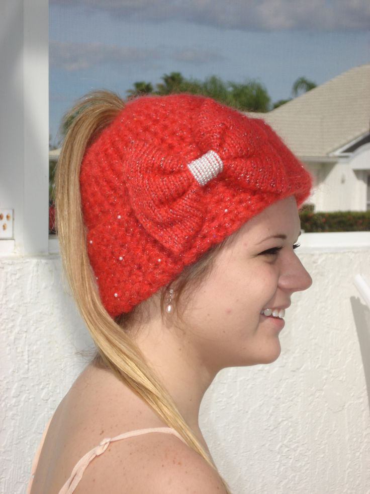 Unique Handmade Red Crochet and Knit Ponytail Hat Embellished Crochet Hat with Ponytail Hole Of Attractive 47 Pics Crochet Hat with Ponytail Hole