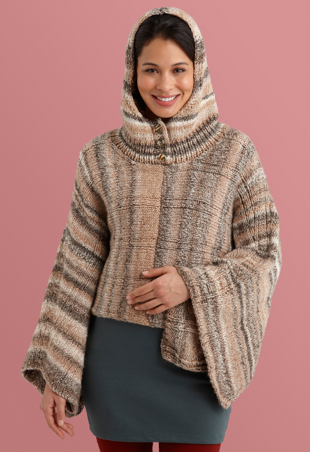 Unique Hooded Poncho In Lion Brand Tweed Stripes L Hooded Cape Pattern Of Great 42 Pictures Hooded Cape Pattern