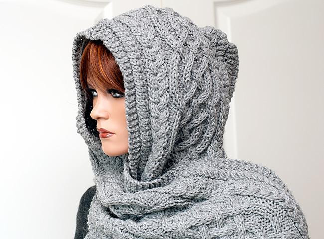 "Unique Hooded Scarf ""anika"" Knitting Pattern by Rita Maassen Hooded Scarf Knitting Pattern Of Delightful 48 Pictures Hooded Scarf Knitting Pattern"