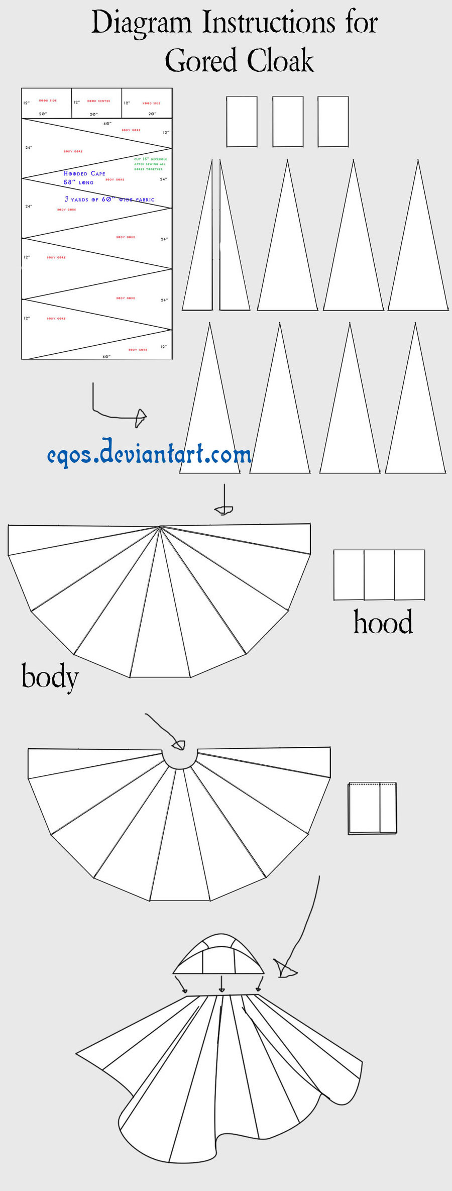 Unique Instructions for Gored Cloak by Eqos On Deviantart Hooded Cape Pattern Of Great 42 Pictures Hooded Cape Pattern