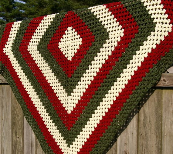 Unique Items Similar to Crochet Afghan Blanket Granny Square In Crochet Christmas Afghan Of Contemporary 48 Pics Crochet Christmas Afghan