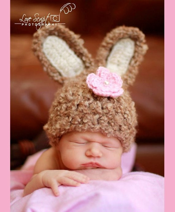 Items similar to Crochet Newborn Baby Bunny Hat Soft and