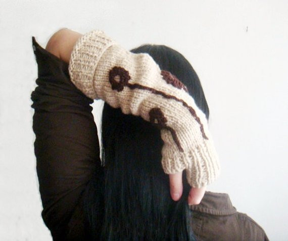 Items similar to Knitted Long Arm Warmers Fingerless