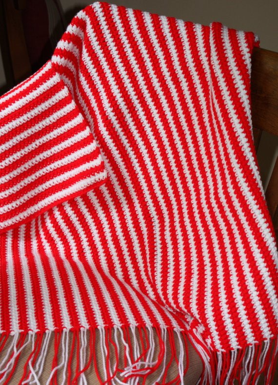 Unique Items Similar to Red and White Striped Baby Afghan Peppermint Crochet Blanket Of Top 45 Models Peppermint Crochet Blanket