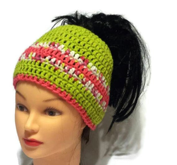 Unique Items Similar to Women Pony Tail Hat Ponytail Beanie Bun Crochet Hat with Ponytail Hole Of Attractive 47 Pics Crochet Hat with Ponytail Hole