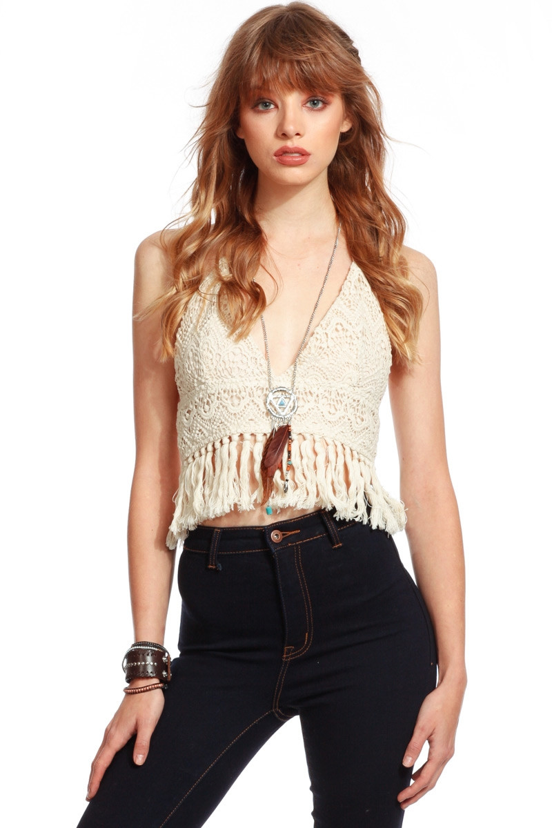 Unique Ivory Crochet Halter Neck Crop top Cicihot top Shirt Crochet Halter Crop top Of Superb 43 Photos Crochet Halter Crop top
