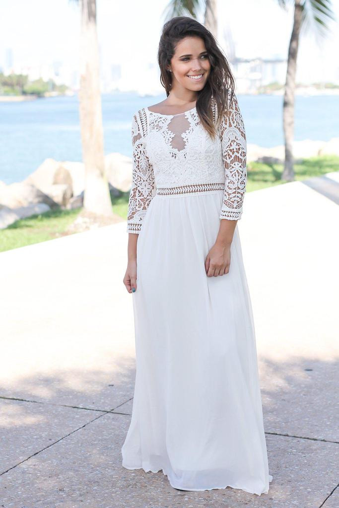 Unique Ivory Crochet Maxi Dress with 3 4 Sleeves Ivory Crochet Dress Of Brilliant 41 Ideas Ivory Crochet Dress