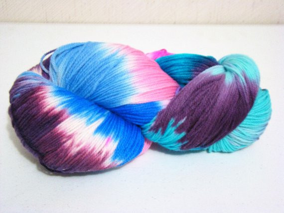 Jumbo Skein Blue Dyed Wool Hand Painted Yarn Worsted